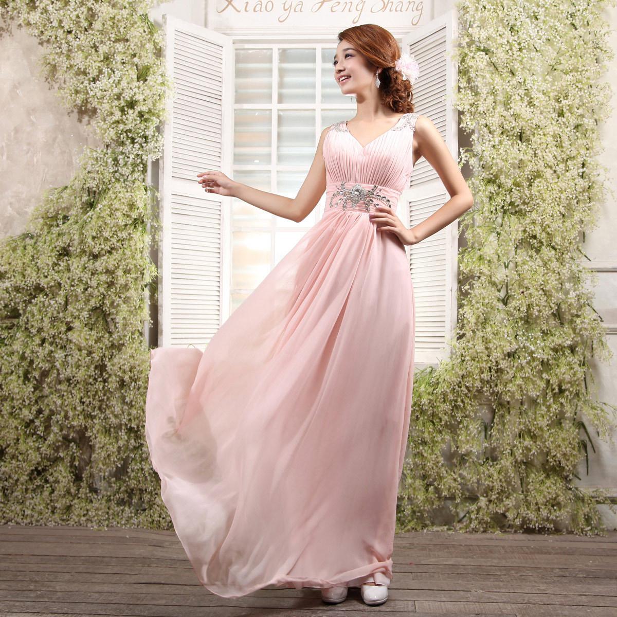 2012秋季新款新娘礼服 长款晚礼服 结婚敬酒服伴娘修身礼服演出服