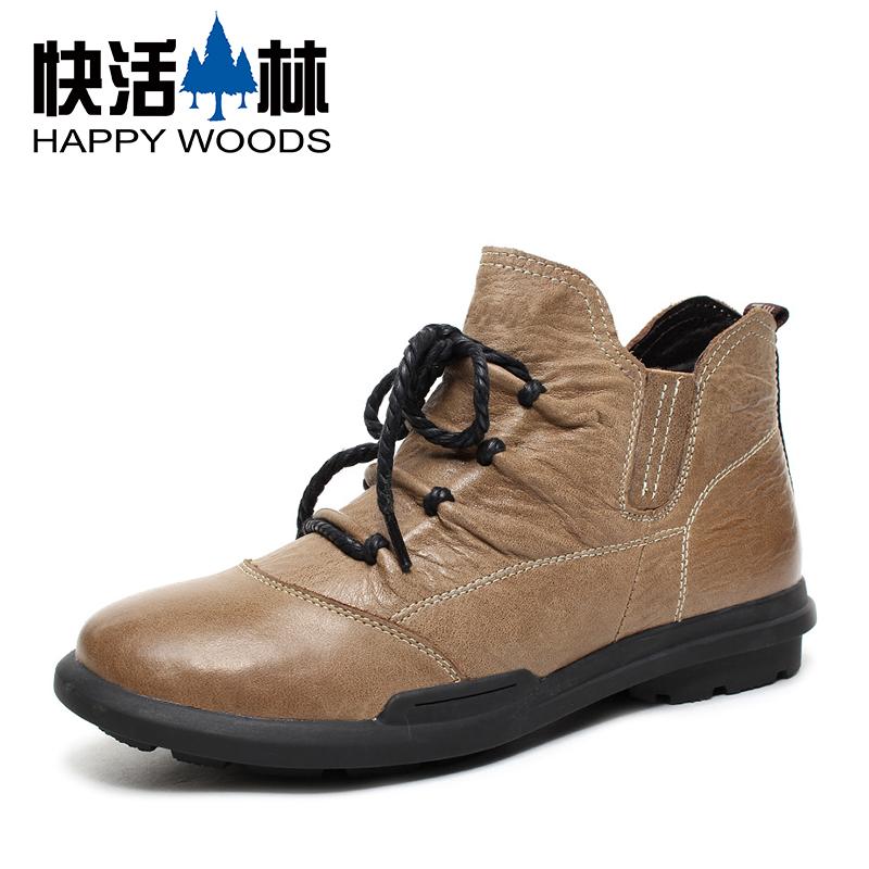 快活林男士短靴皮靴男靴 保暖男士靴子男 真皮棉鞋男马丁靴 男鞋