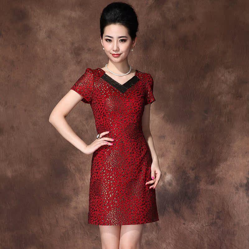 夏装新款 结婚宴会婚礼妈妈婆婆礼服套装套裙红色修身连衣裙大码