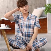男士睡衣夏季纯棉棉绸短袖薄款加大码休闲青年夏天家居服绵绸套装