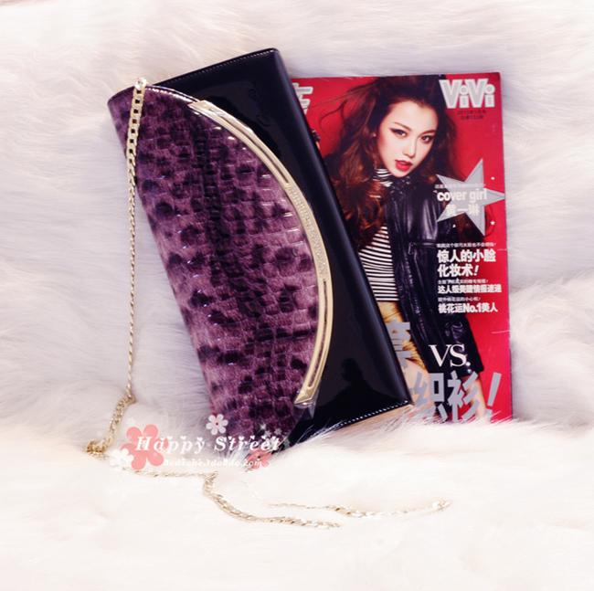 香港歌天丽紫色水晶豹纹手拎钱包月牙单肩大号手拿包大手包宴会包