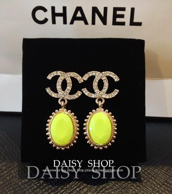 Серьги Маргаритка магазин корейских классические bling полный двойной c Шанель заклинание флуоресцентные цветных драгоценных камней Серьги
