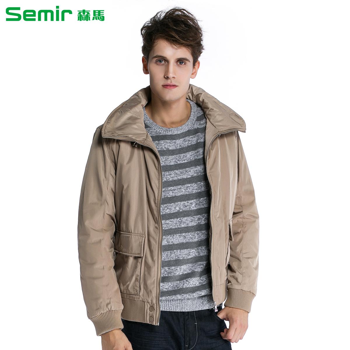 森马男装 2013冬装新款男式棉衣时尚纯色立领夹克式棉服 男 外套图片