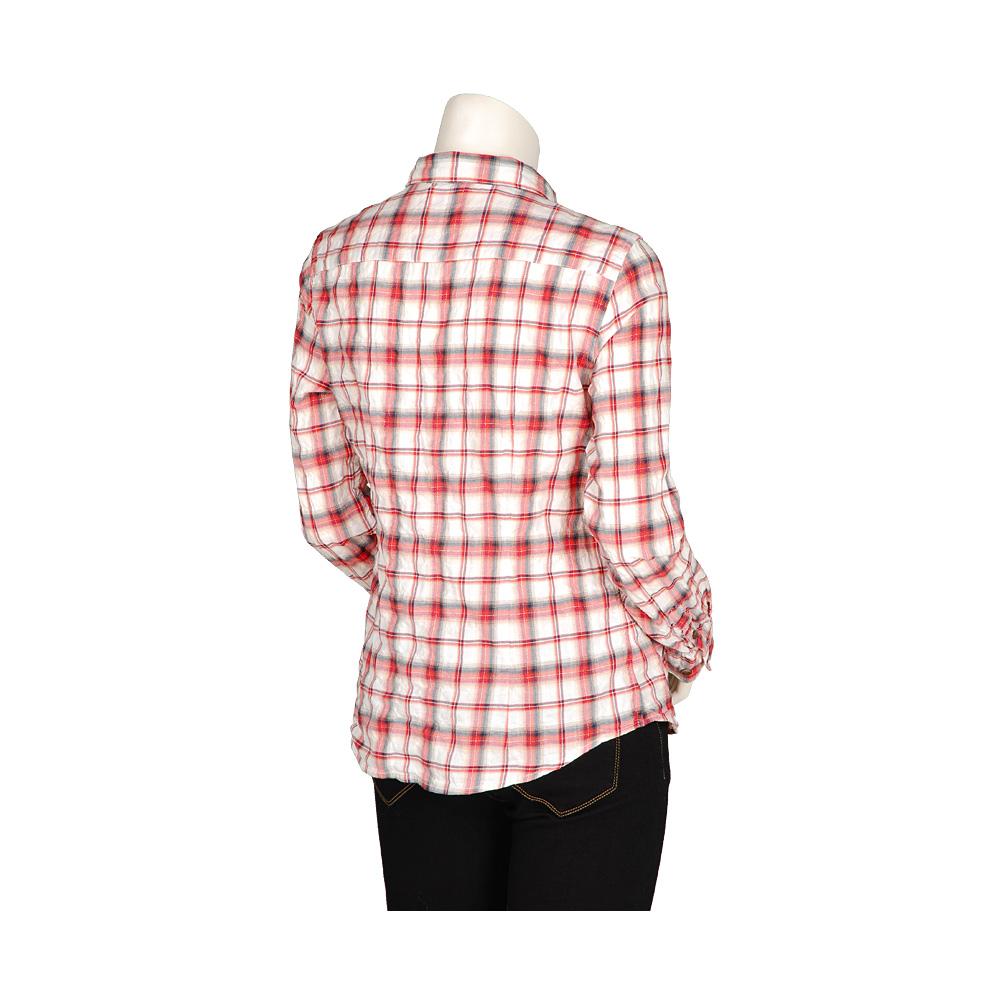 женская рубашка Uniqlo uq065453000 Повседневный стиль Длинный рукав В клетку Воротник-стойка