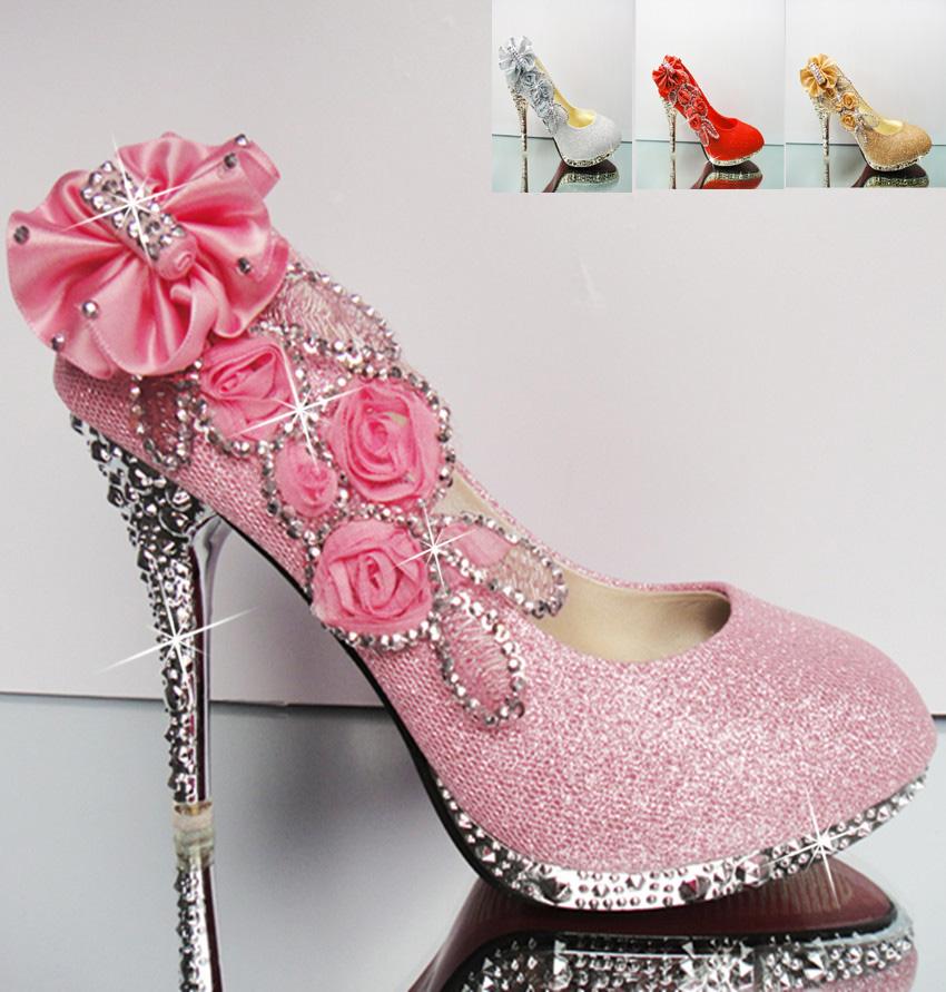 女鞋单鞋 2013春银色高跟鞋红色水钻花朵结婚鞋金色伴新娘鞋子