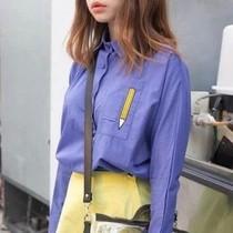 丸子~2013秋装新款韩国 铅笔刺绣蝙蝠长袖衬衫衬衣女装潮