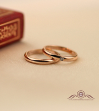 Simple fashion color gold wedding rings couple rings couple rings Korean 18K rose gold diamond ring tail ring influx of people