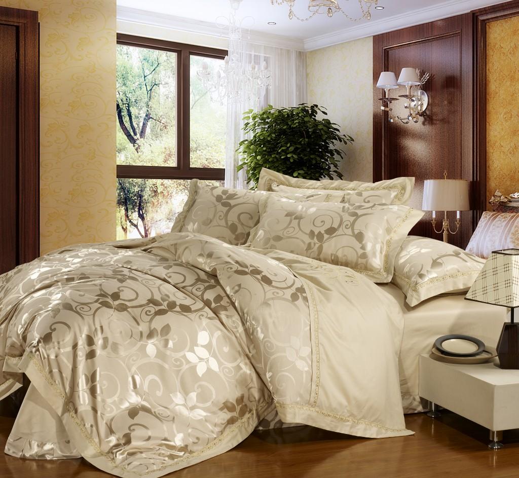 家纺全棉真丝贡缎提花四件套 欧式宫廷 床上用品 婚庆床品