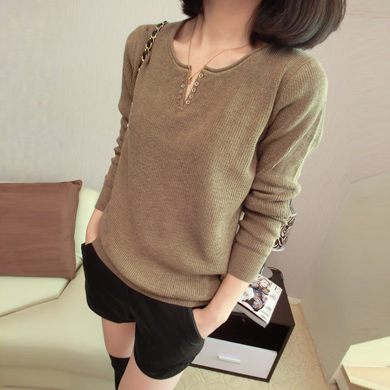 2013 spring new Korean loose sweater v neck thin knitted base sweater coat