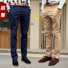 Grid Lion Men 2013 summer new men's casual pants men pants Korean Slim thin section tide male feet pants