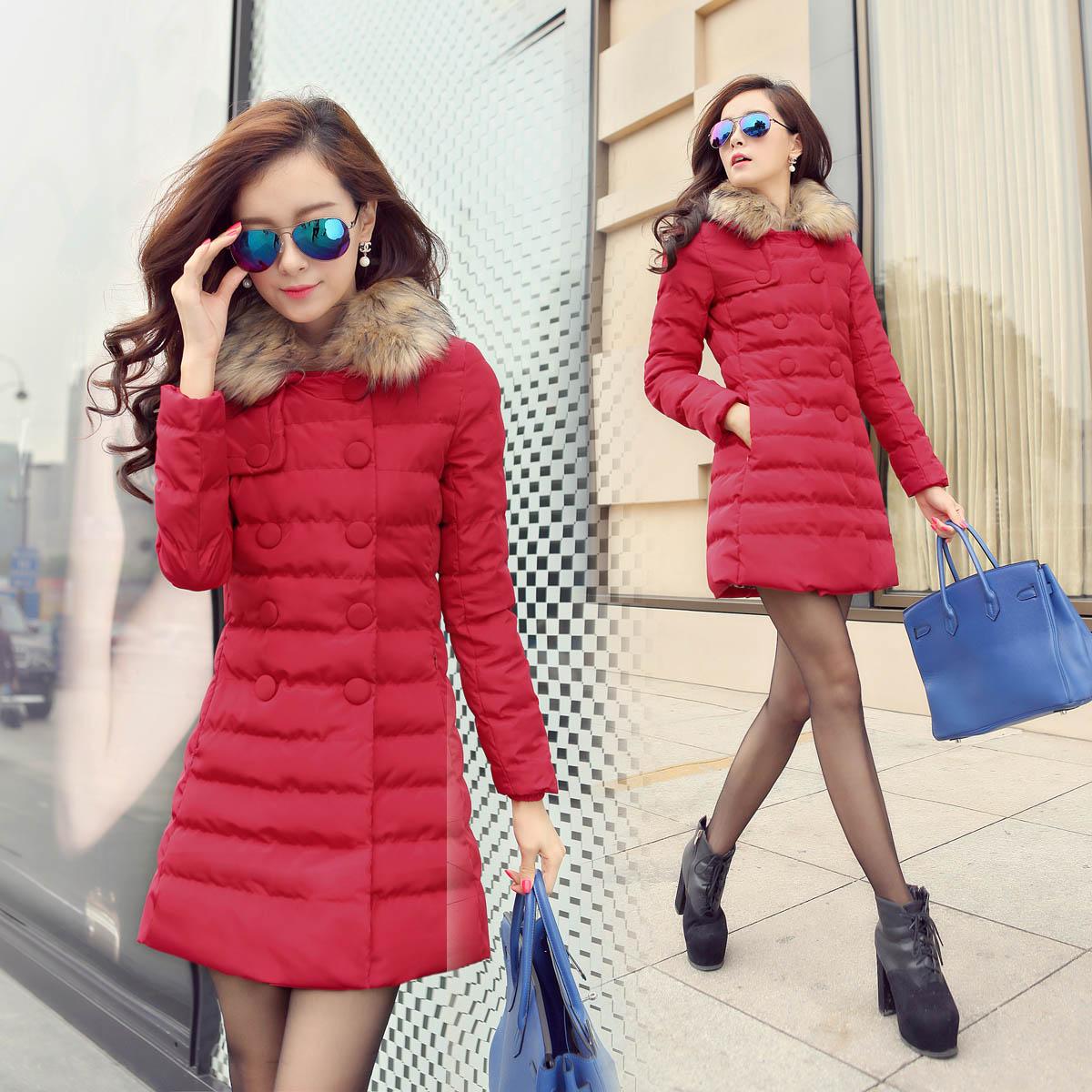 Женская утепленная куртка 2013 новые зимние пальто длиной вниз в корейской версии большой толстый тонкий хлопок одежда большой воротник пальто женщин