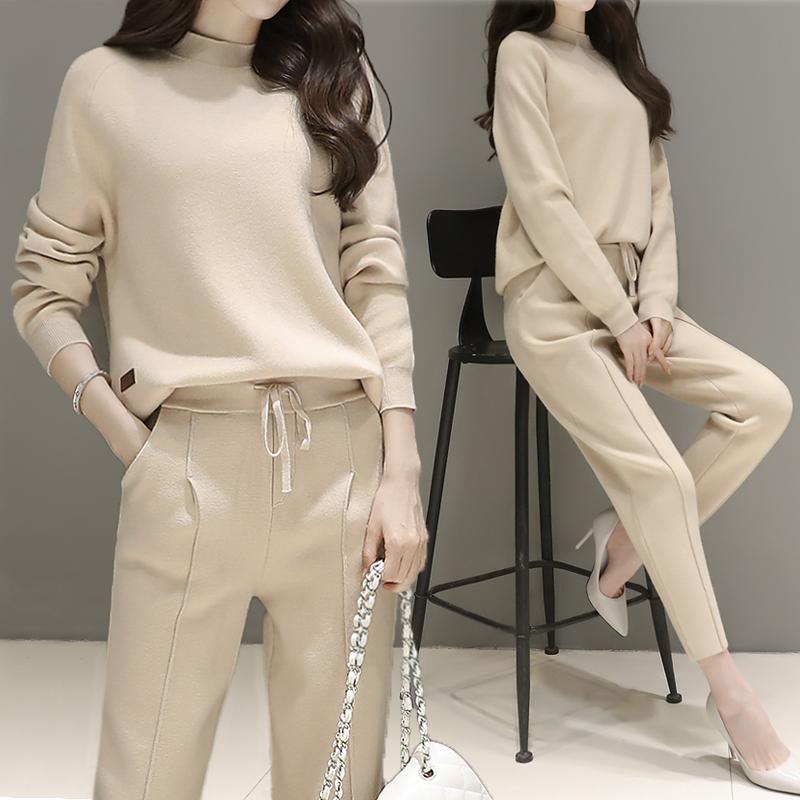 2017春季新款韩版时尚休闲针织套装女高腰九分哈伦裤运动两件套潮