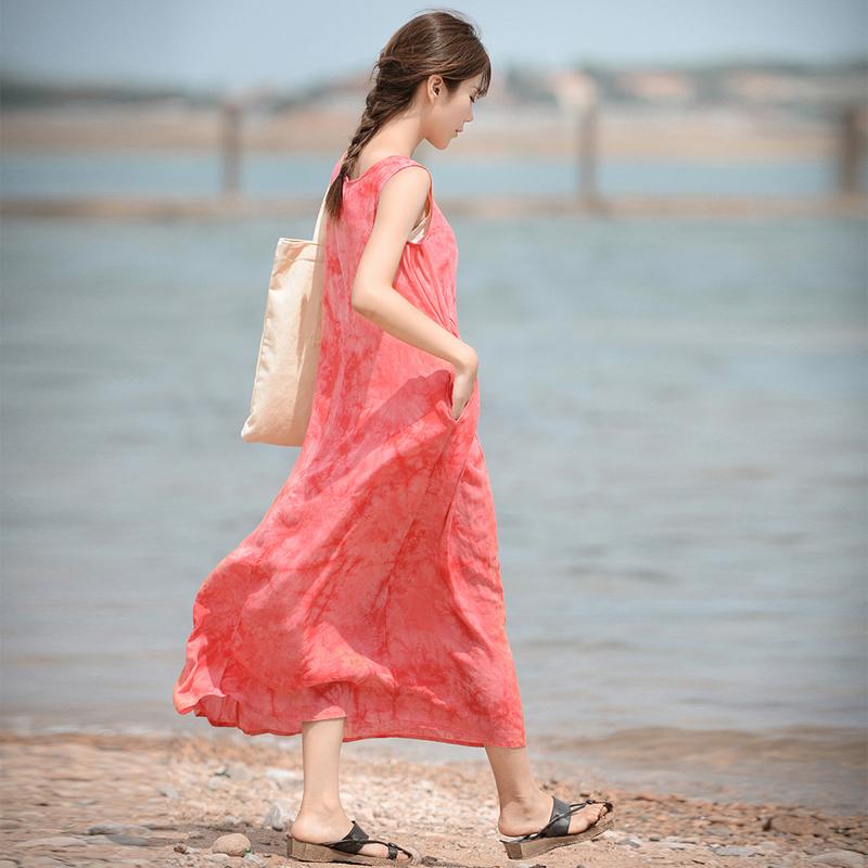 微笑向暖/醉流景/原创复古扎染印花显瘦长裙无袖文艺范夏季连衣裙