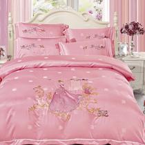欧式苏绣贡缎提花四件套  纯棉床单全棉被套婚庆床上用品套件