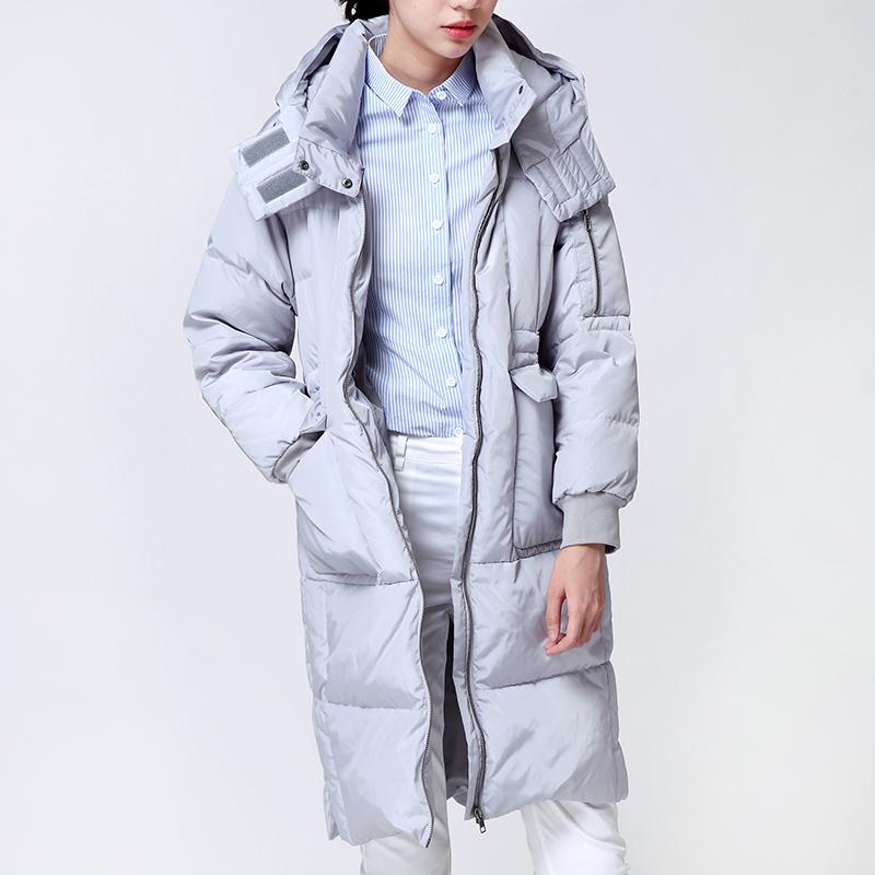 宽松落肩袖廓形羽绒服 初棉2016冬装新款连帽羽绒服女中长款加厚