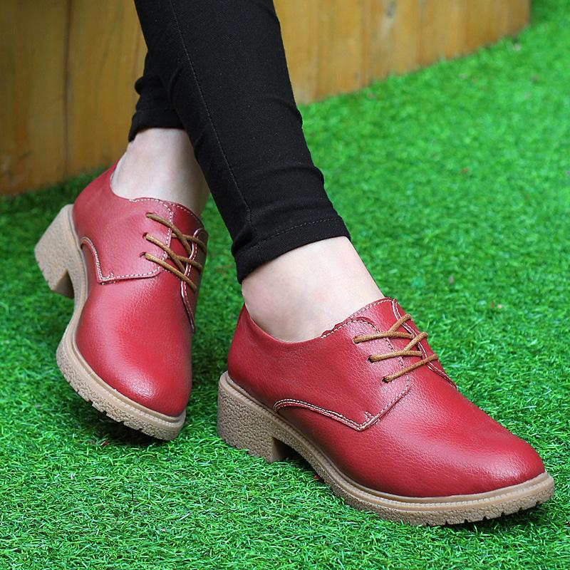 春秋季英伦女鞋厚底粗跟单鞋女厚底鞋真皮鞋松糕鞋中跟休闲鞋女