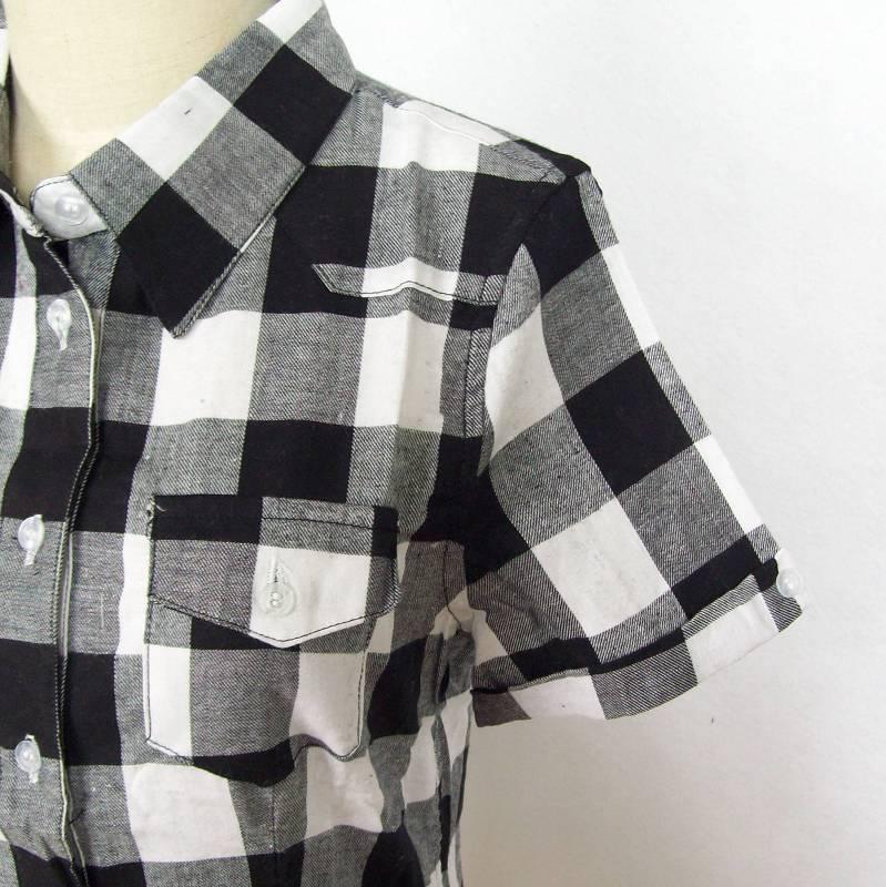 женская рубашка Famous brand 200101 Повседневный Короткий рукав В клетку Лето 2012
