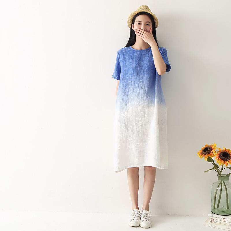 夏装大码棉麻宽松渐变色吊染裙子中长款圆领T恤连衣裙短袖长裙女