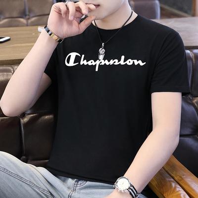 男士短袖t恤2019新款韩版潮纯棉流修身圆领体恤学生个性男装衣服