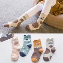 儿童棉袜双边动物卡通新款儿童袜子纯棉保暖吸汗不臭脚纯正精梳棉