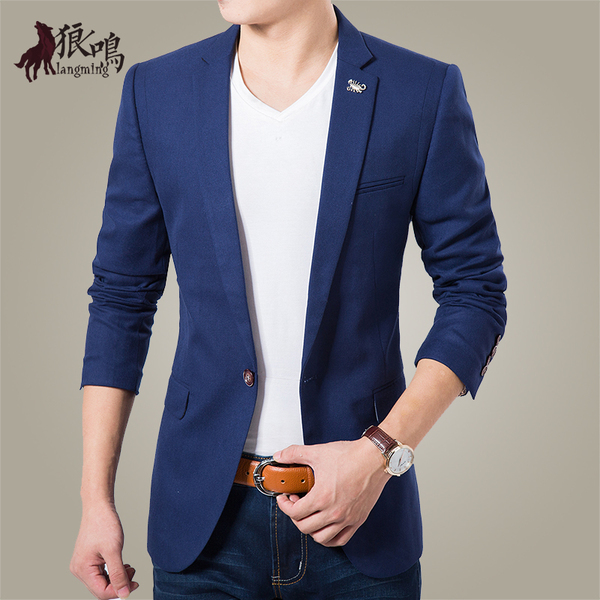 Wolf Naruto new winter Korean Slim small suit men fashion casual cotton jacket tide single West codes