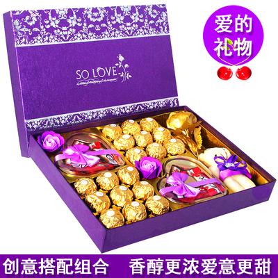 德芙巧克力礼盒装创意diy七夕情人生日礼物心形送女神表白