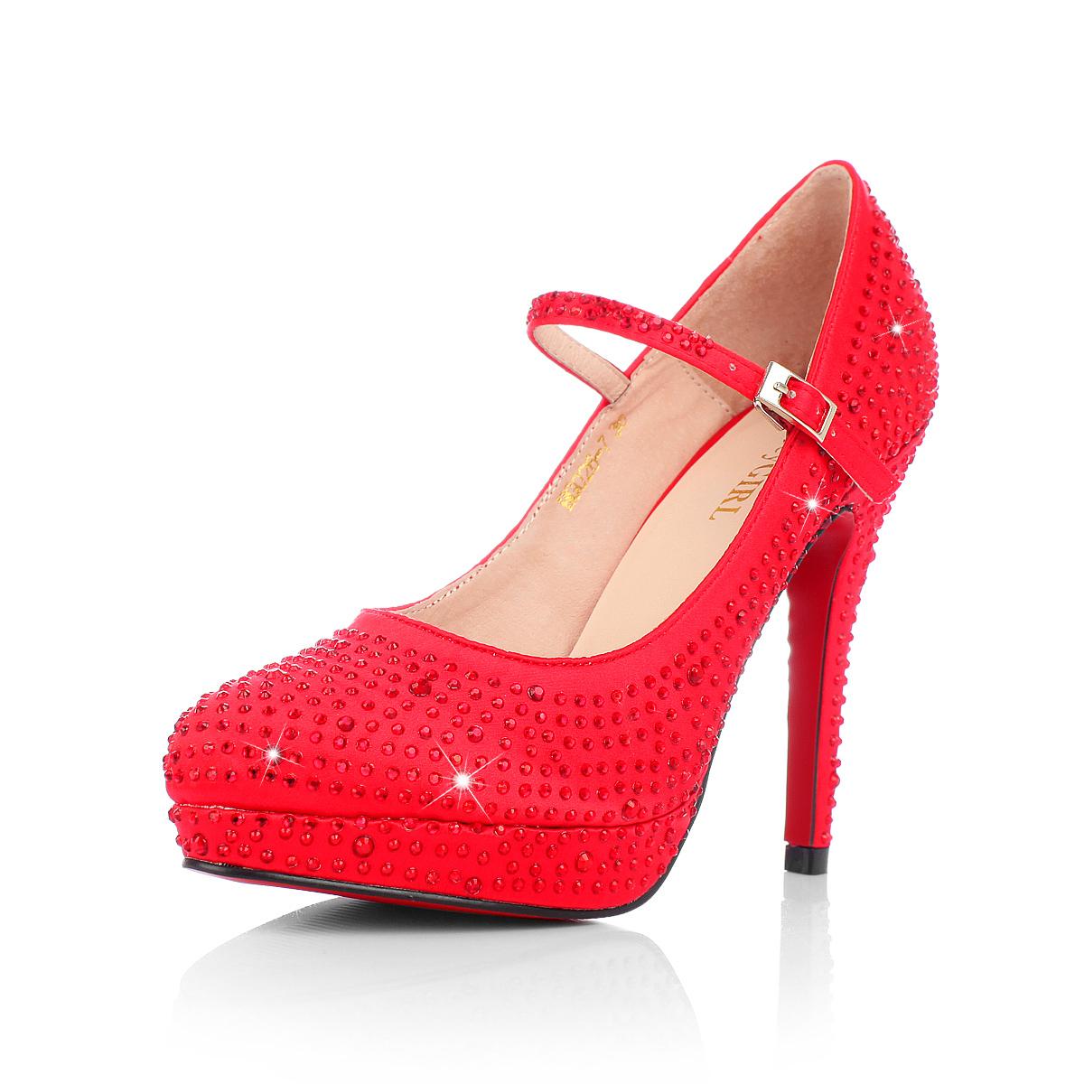 2013新品时尚绸缎面婚鞋 细跟女鞋子 闪亮水钻勾扣外水台高跟单鞋