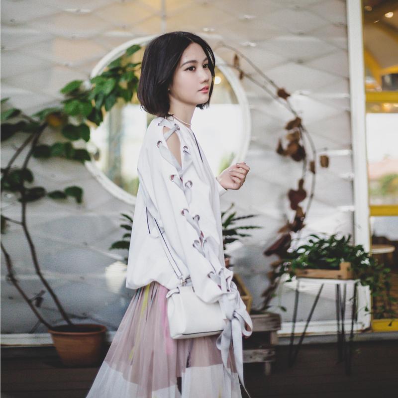 2017春夏新款 设计感圆领套头绑带袖打底卫衣女 个性宽松上衣