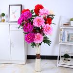 仿真牡丹花3头5头大牡丹娟花假花干花客厅摆放装饰用花艺一支包邮