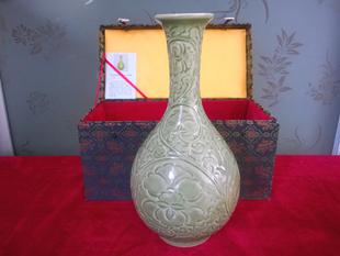 陕西特产耀州窑仿古董青瓷陶瓷器玉壶春瓶酒具花瓶摆件工艺品包邮