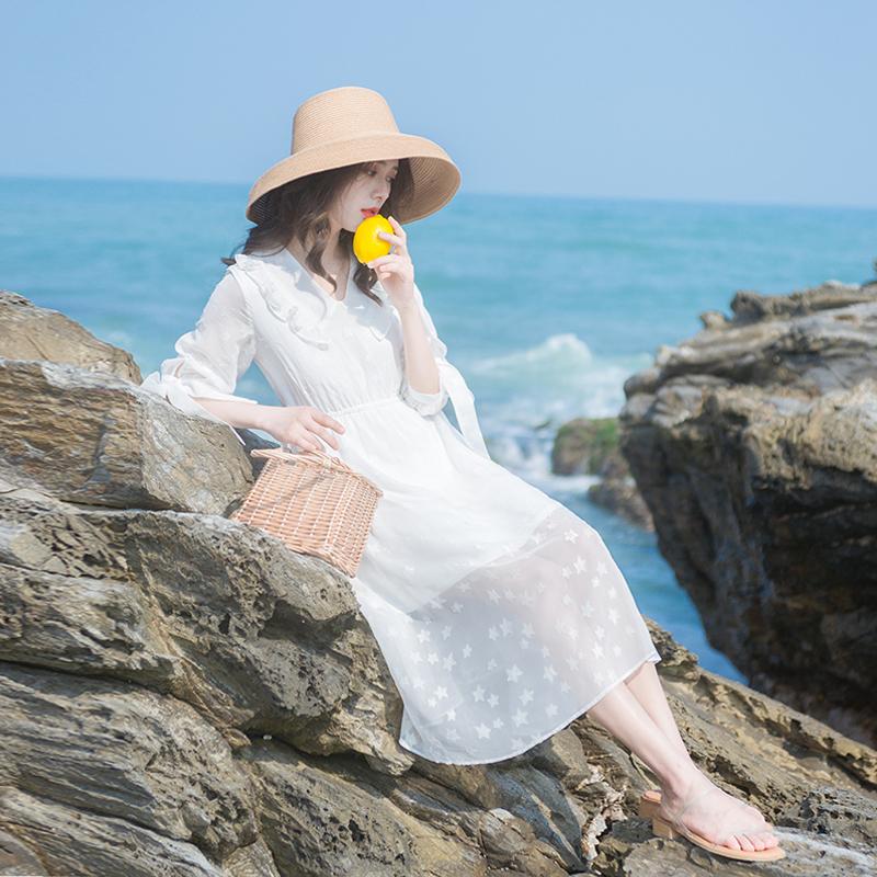 2019夏季新款女装很仙的法国小众遮肚连衣裙仙女超仙甜美裙子长裙