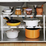 收纳神器多层储物2层可伸缩卧室宿舍下水道厨房置物架组合收纳架