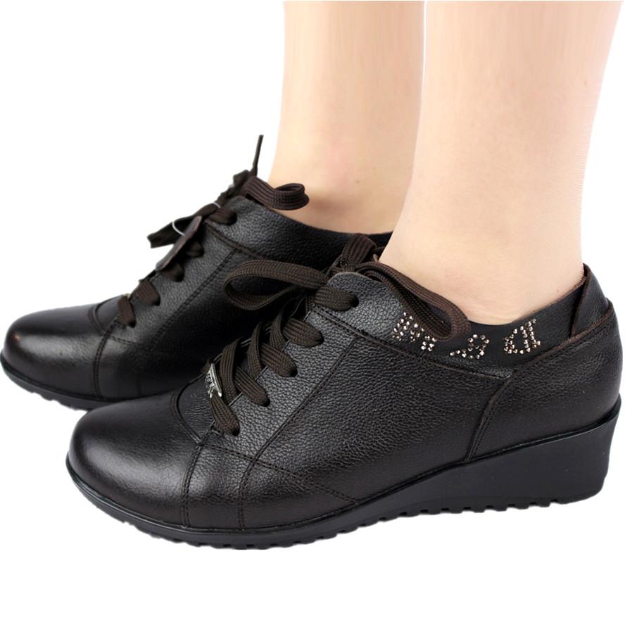 туфли A120 Танкетка Мягкая кожа Верхний слой из воловьей кожи