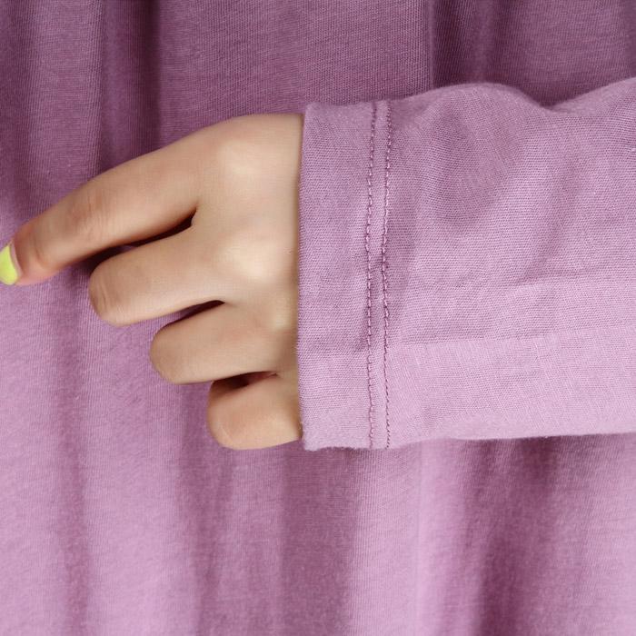 Ночная рубашка Новая романтика в осенние фиолетовый элегантный горный хрусталь хлопок дамы длинный рукав размер ночная рубашка пижамы, пижамы и отдыха Хлопок Хлопковый трикотаж О-вырез Осень