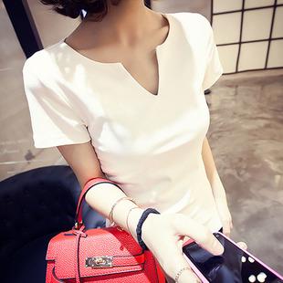 夏棉t恤女短袖低领白色V领打底衫潮体恤紧身纯色上衣修身显瘦半袖