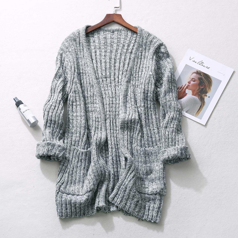 O133中长款针织开衫女装秋季新款无扣宽松毛衣外套大码女装W6C558