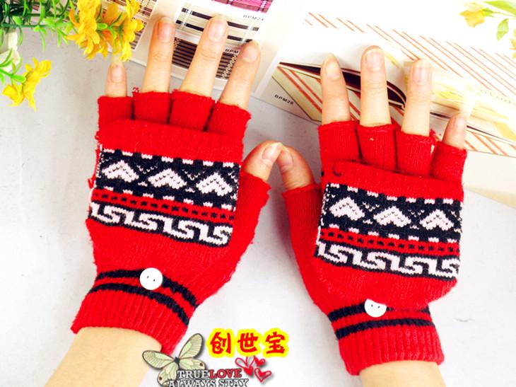 Перчатки Корейская версия прекрасный теплый пальцев шерстяные перчатки перчатки женщин зимняя шерсть полу распространяется без пальцев перчатки