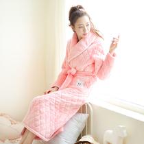 冬天可爱睡袍女加厚加长款韩版睡衣三层夹棉珊瑚绒公主甜美保暖