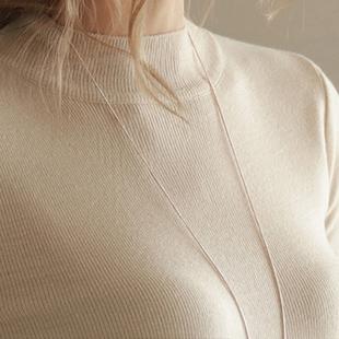 2017春新品半高领长袖针织衫欧美女士套头修身显瘦纯色毛衣打底衫