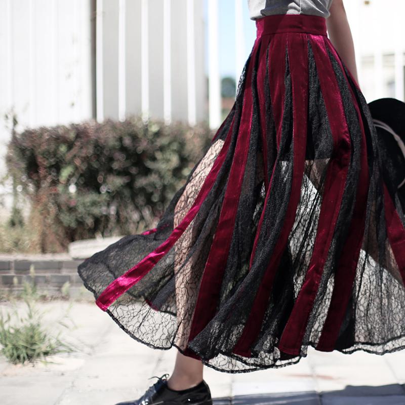 【VIMIE】春夏新品特别推荐丝绒蕾丝拼接超好看大裙摆半身裙独卖