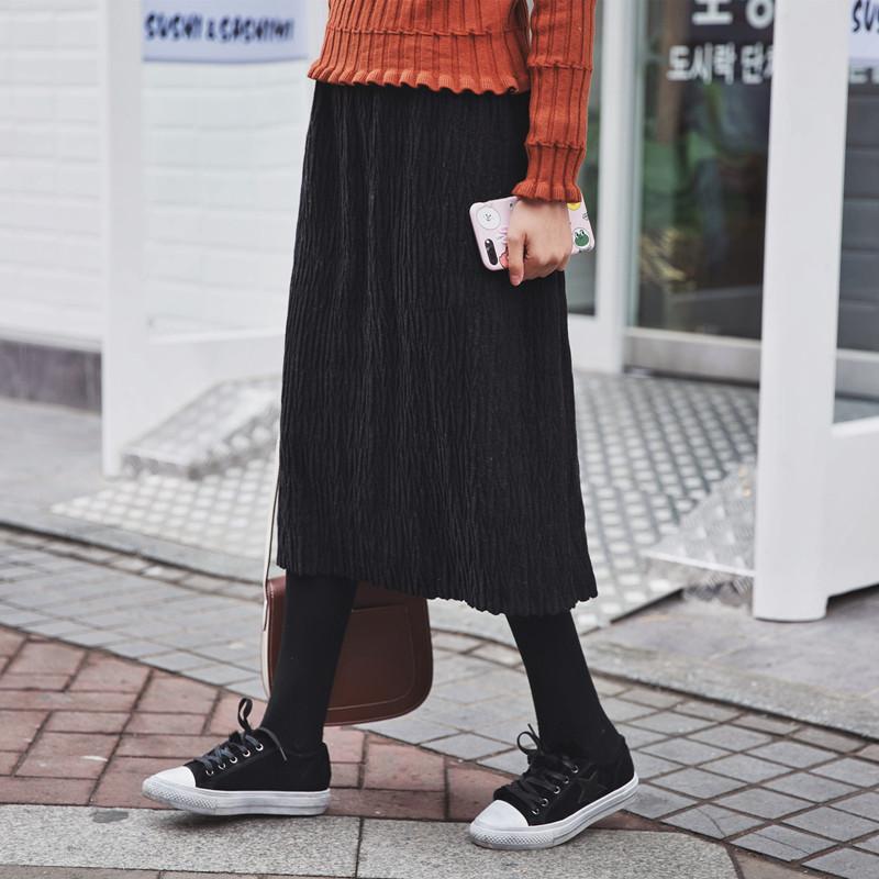C小小 2016冬装新款韩版宽松百搭高腰显瘦呢子松紧腰中长半身裙女