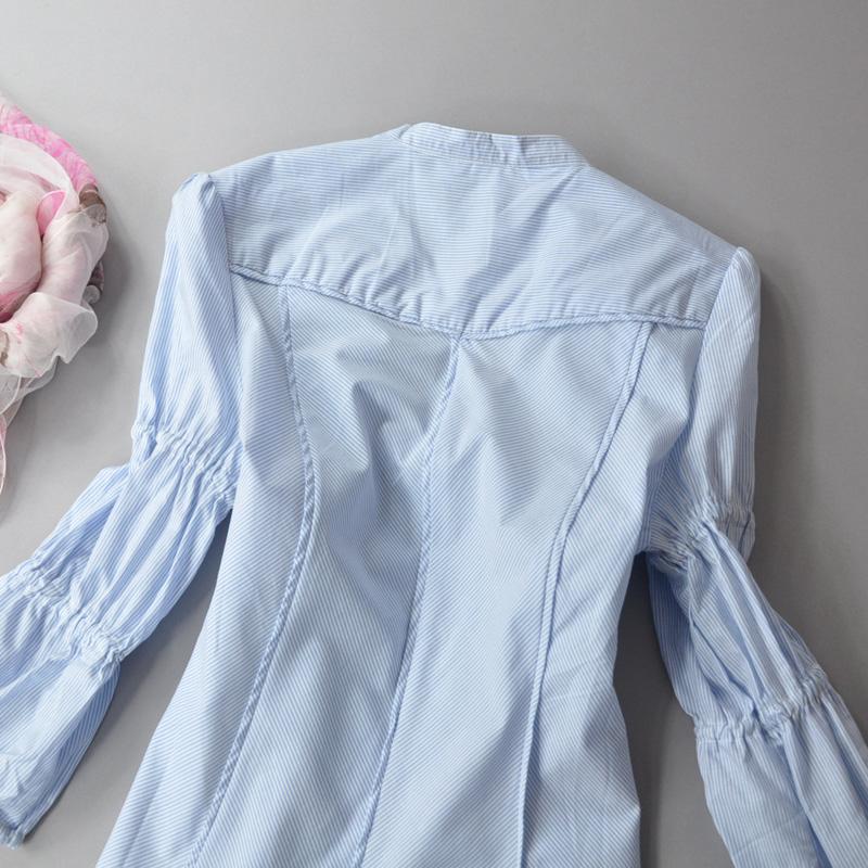женская рубашка Специальные! Тонкий рукав качества в синий и белый полосатый хлопок v шеи Джокер блузка Городской стиль В полоску V-образный вырез