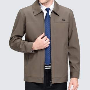 中老年人男装休闲夹克外套春秋厚款上衣爸爸装中年男士翻领夹克衫
