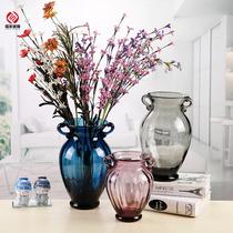 美式乡村双耳彩色玻璃花瓶百合玫瑰富贵竹插花花器家居装饰品摆件