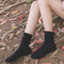 堆堆袜 女 韩国 复古中筒翻边纯棉长袜子防臭保暖秋冬款原宿潮袜