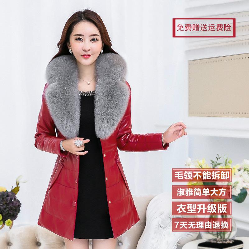 2016冬装新款羽绒棉服韩版修身中长款环保狐狸毛领外套女