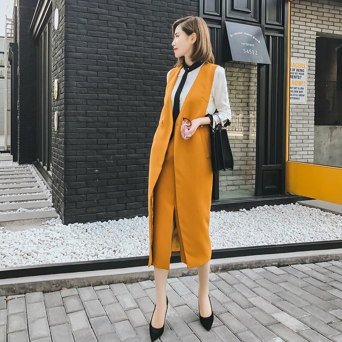 大英自制 2017春秋季新款马甲套装女时尚气质中长款半身裙假两件