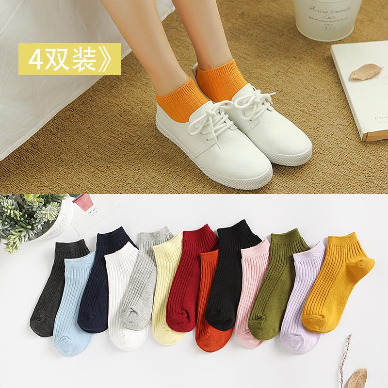 春季新款袜子女粗线短袜定标纯棉船袜女浅口针织袜低帮百搭袜子女