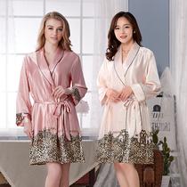 春季新款女式睡袍夏季薄款浴袍女长袖浴衣大码宽松睡衣家居服女