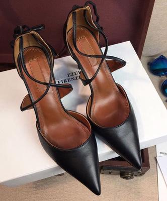 新款高跟鞋女细跟尖头中跟交叉绑带浅口夜店小码裸色百搭包头凉鞋